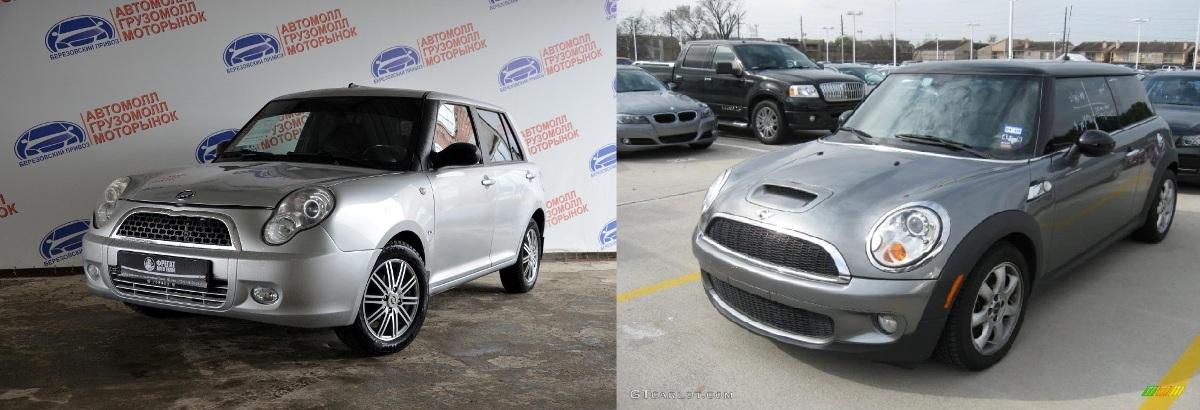 Lifan 330 (слева) и Mini Cooper (справа)