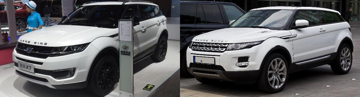 Land Wind X7 (слева) иRange Rover Evoque (справа)