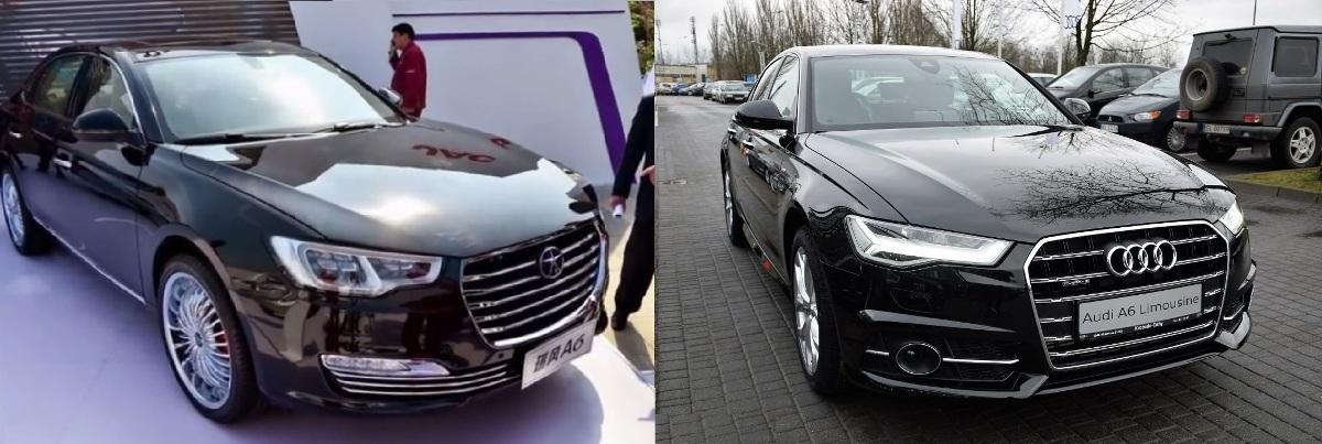 JAC A6 (слева) и Audi A6 (справа)