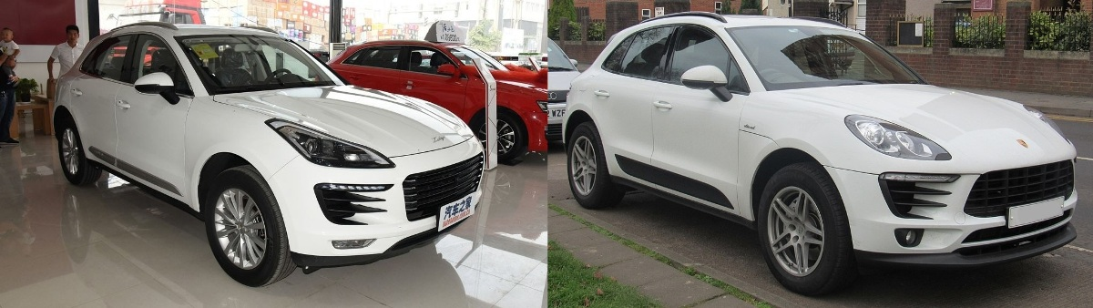 Zotye SR9 (слева) и Porsche Macan (справа)