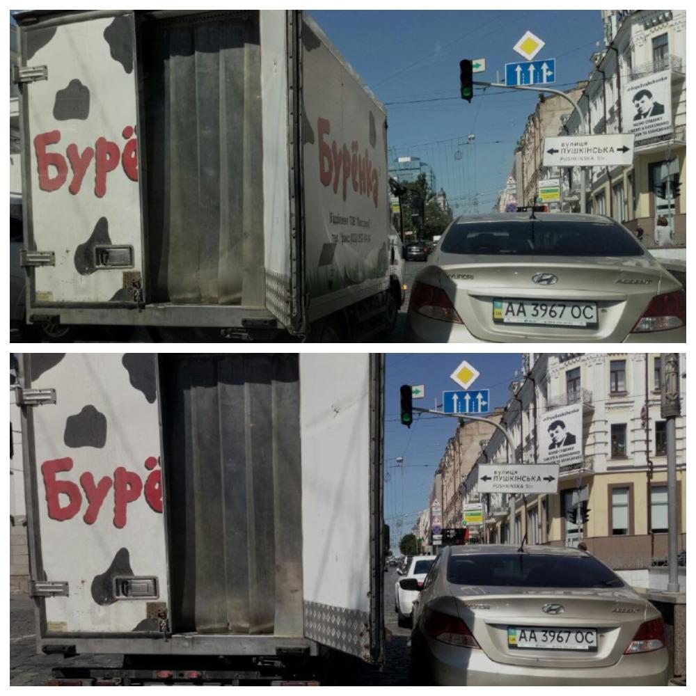Hyundai Accent с номером АА 3967 ОС и грузовой автомобиль с номером АВ 0160 ВТ