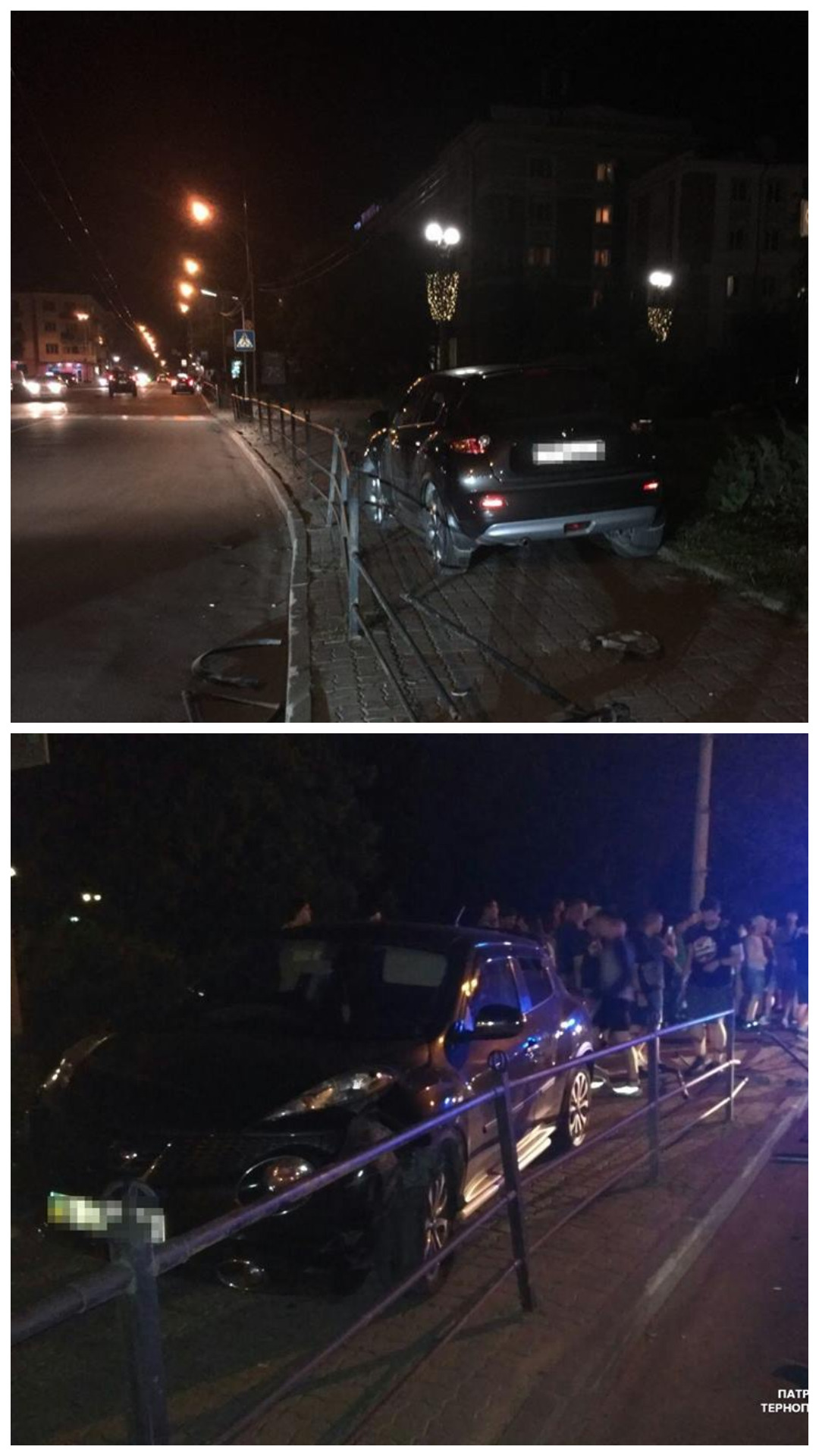 Водитель Nissan Juke не справился с управлением и заехал за турникетное ограждение
