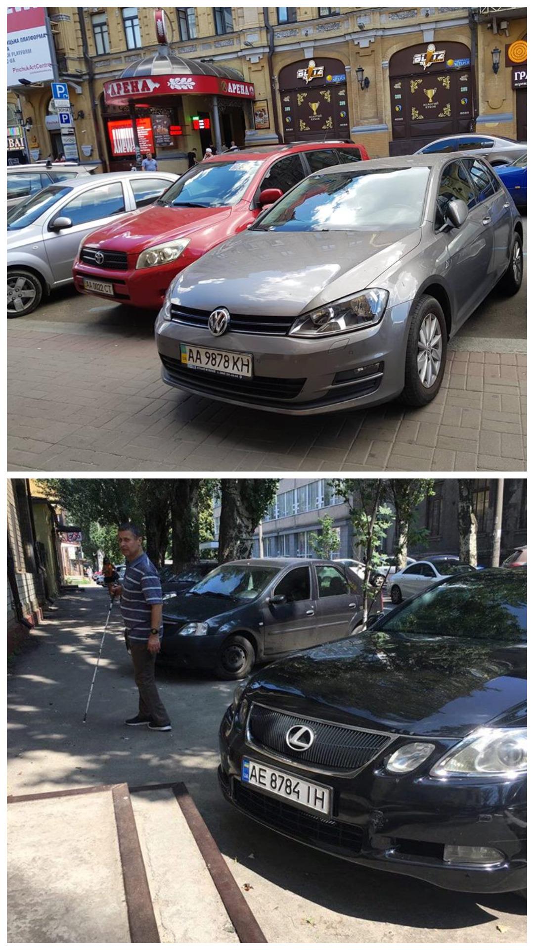 Volkswagen Golf 7 с номером АА 9878 КН и Lexus GS 300 с номером АЕ 8784 ІН