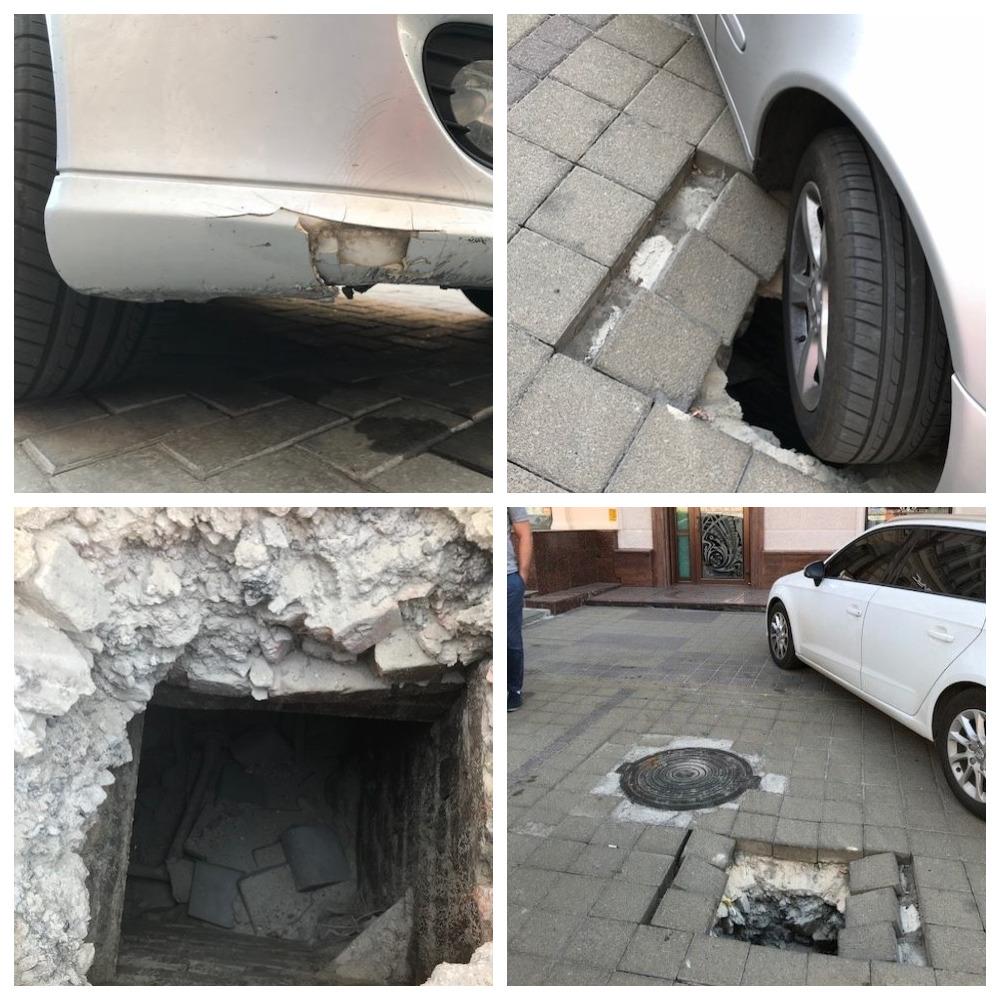 На Старокозацкой под автомобилем образовалась яма
