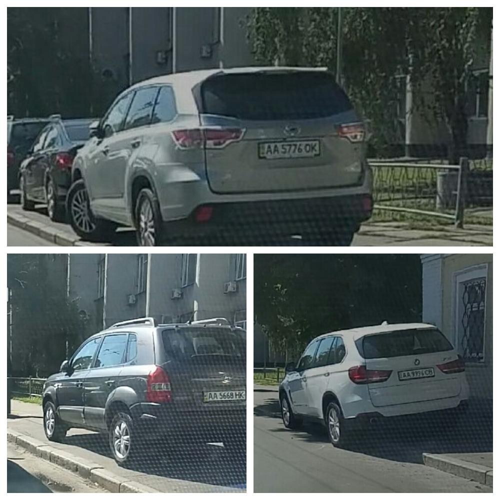 Toyota Highlander с номером АА 5776 ОК, Hyundai Tucson с номером АА 5668 НК, BMW X5 с номером АА 9996 СВ.