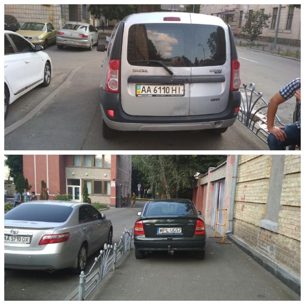 Dacia Logan с номером АА 6110 НІ и Opel Astra с номером WPL UG57