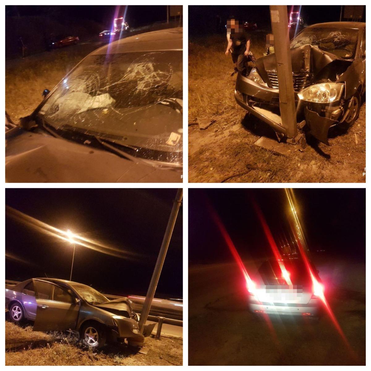 На автодороге Киев-Чоп пьяный водитель Geely врезался в электроопору.