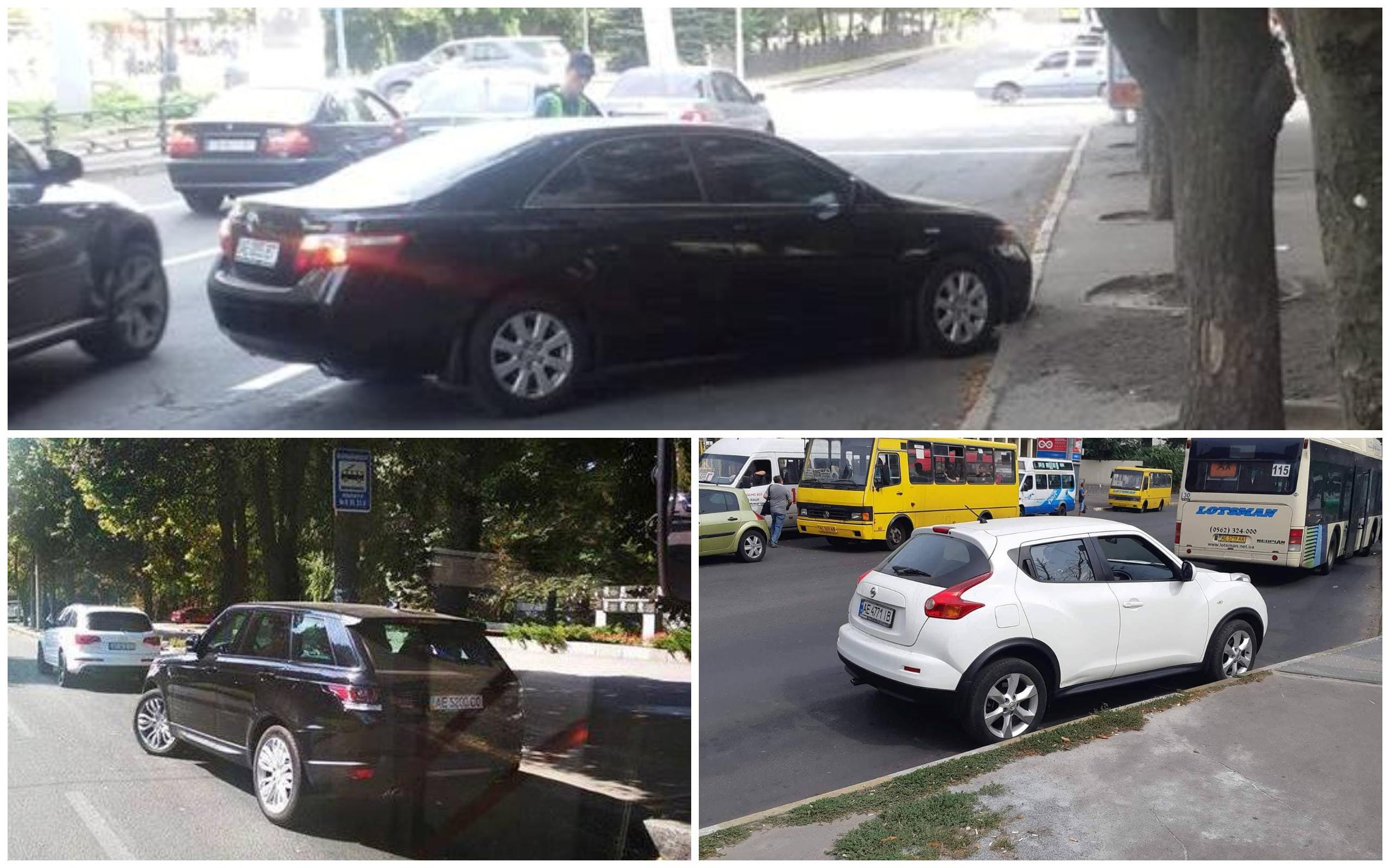 Toyota Camry, Range Rover с номером АЕ 5200 ОО и Nissan Juke с номером АЕ 4771 ІВ