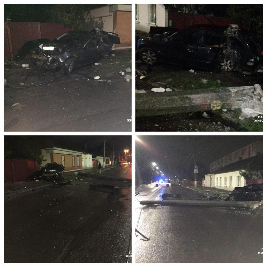 В Житомире автомобиль BMW въехал в электроопору