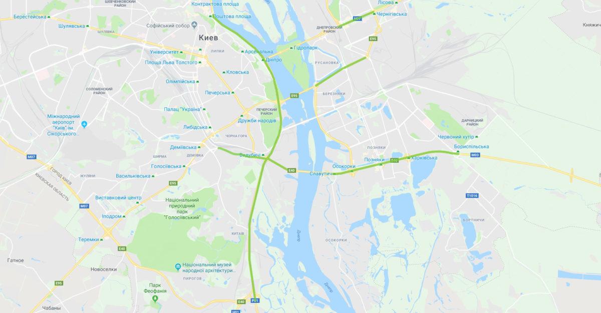 Зеленым цветом выделены улицы, на которых увеличили скоростное ограничение