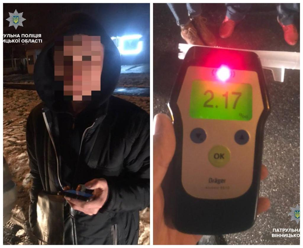 Пьяный водитель нарушил ПДД в Виннице