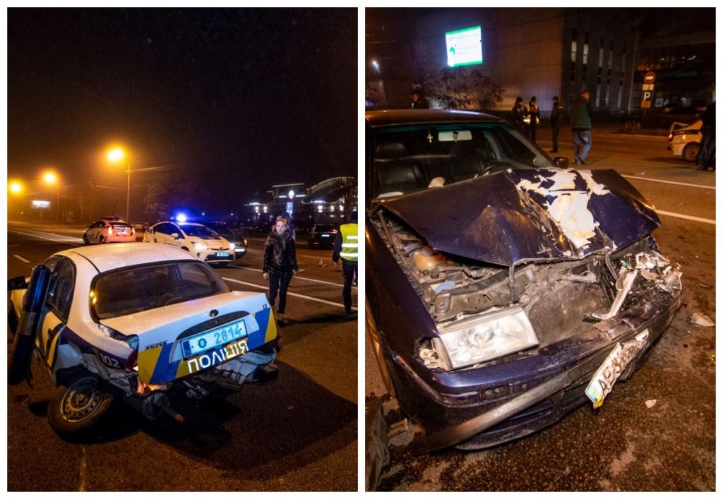 Столкнулись полицейский автомобиль ЗАЗ и Skoda