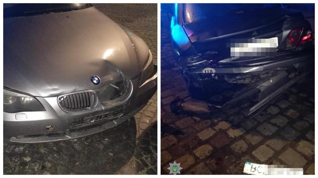 Водитель BMW столкнулся с припаркованным автомобилем Mitsubishi