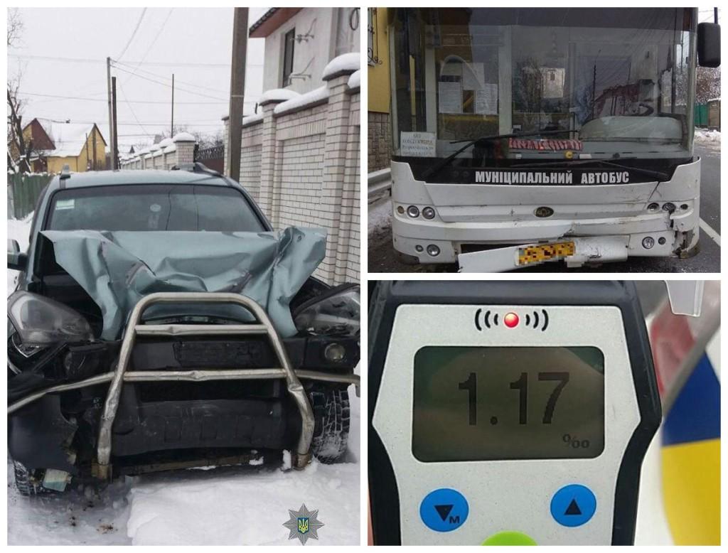 Пьяный водитель Hyundai столкнулся с муниципальным автобусом