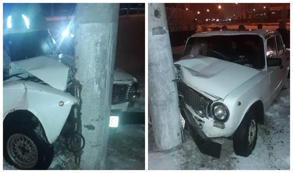 Пьяный водитель врезался в электроопору