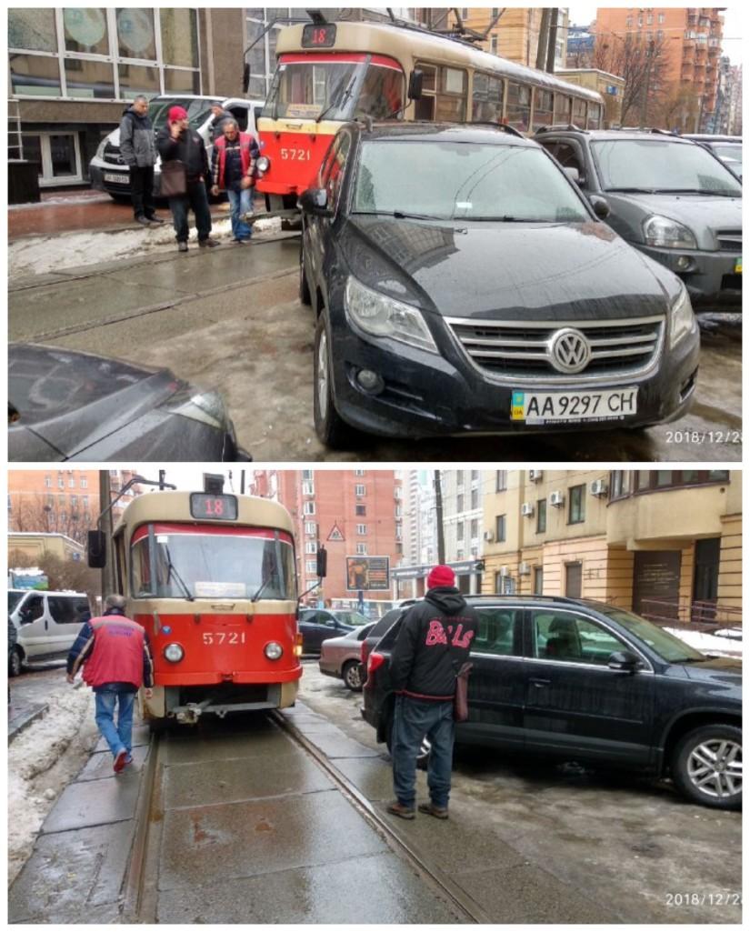 Нарушение правил парковки привело к остановке движения трамваев