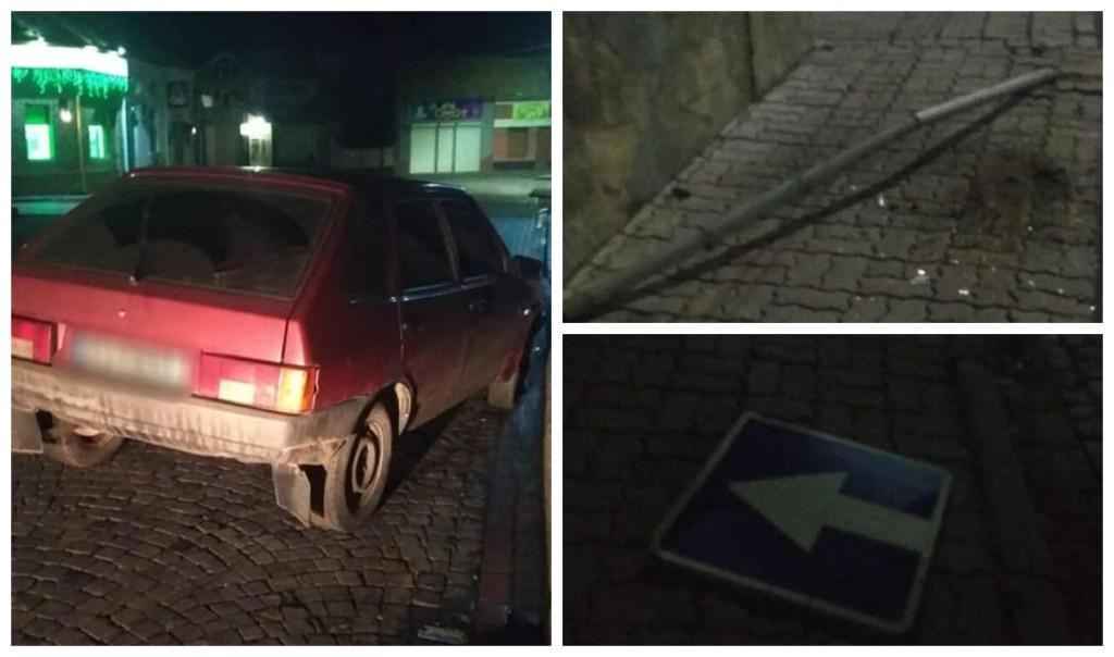 Пьяный водитель наехал на дорожный знак