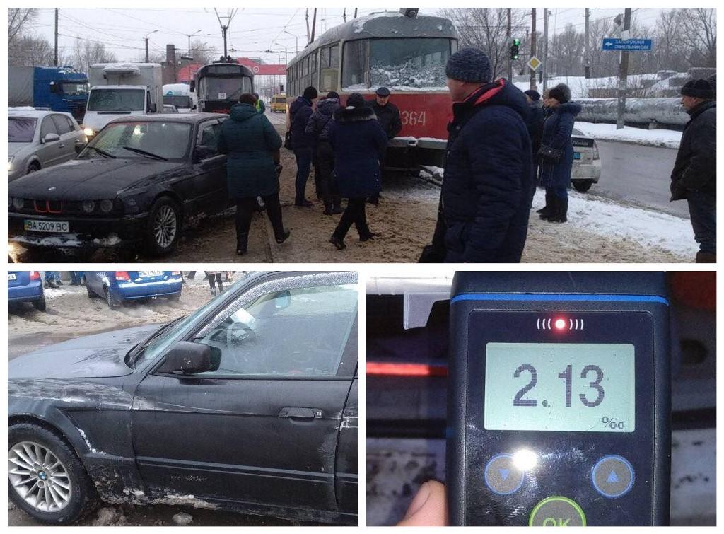 Пьяный водитель BMW столкнулся с трамваем
