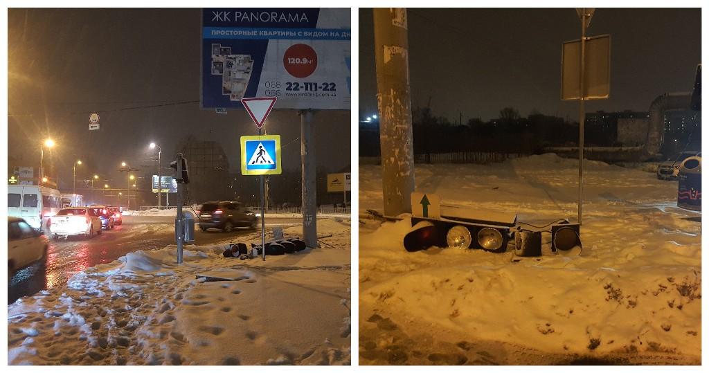 На углу Янтарной и Калиновой сбили светофор