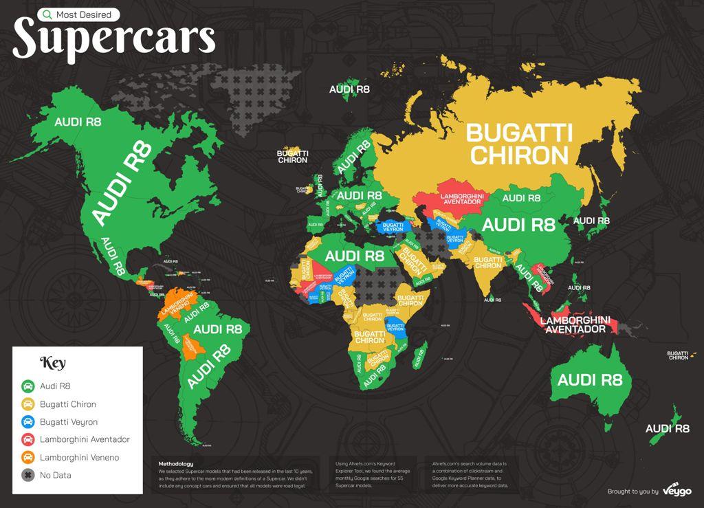 Карта популярности суперкаров в мире