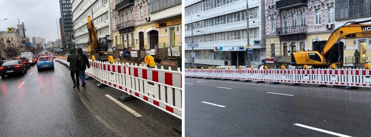 Пластиковое ограждение на улице Антоновича
