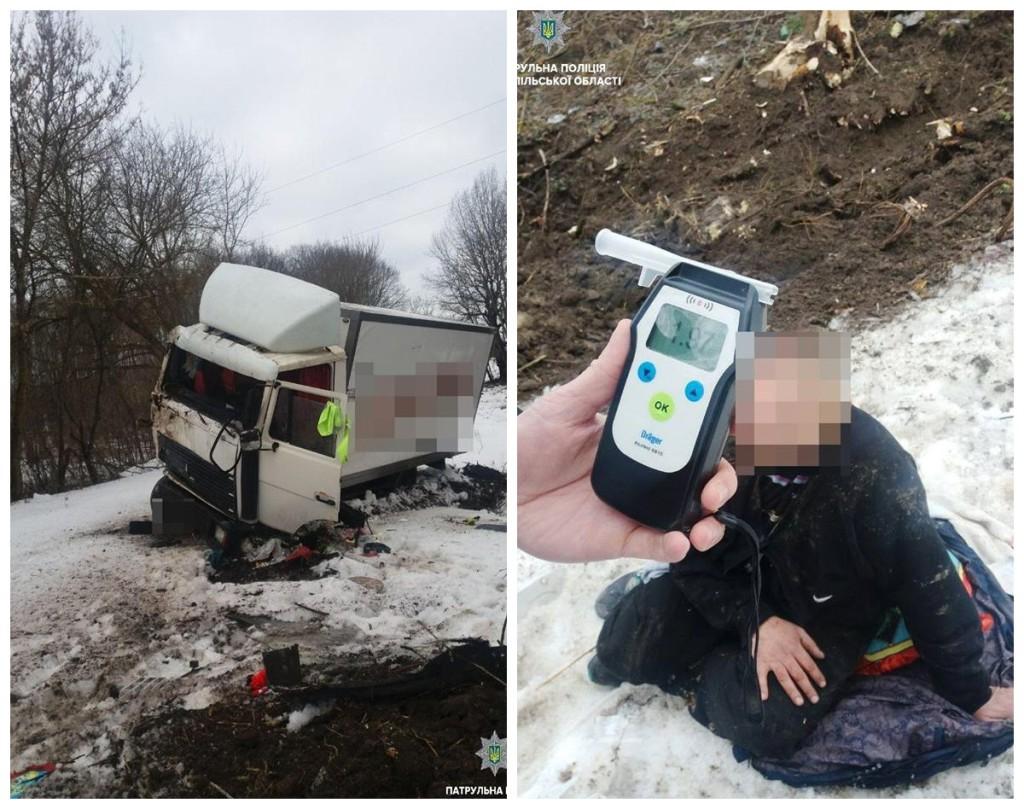 Пьяный водитель уснул за рулем и слетел в кювет