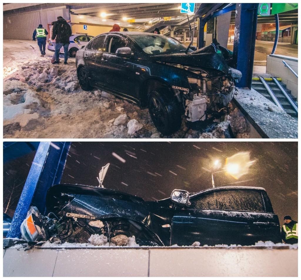 Пьяный водитель влетел в подземный переход