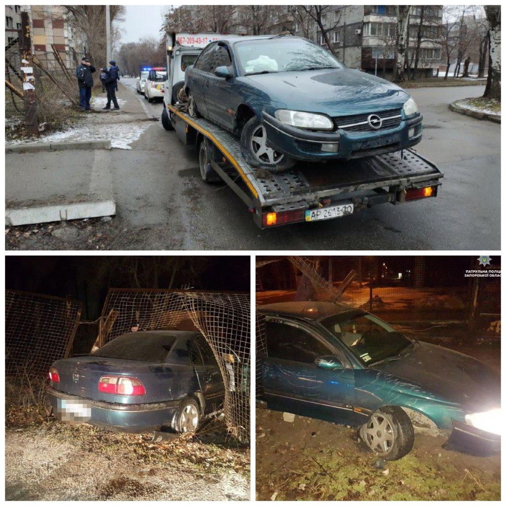 Пьяный водитель въехал в металлический забор
