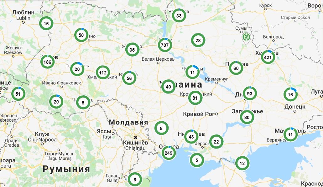 Карта расположения зарядных станций компании