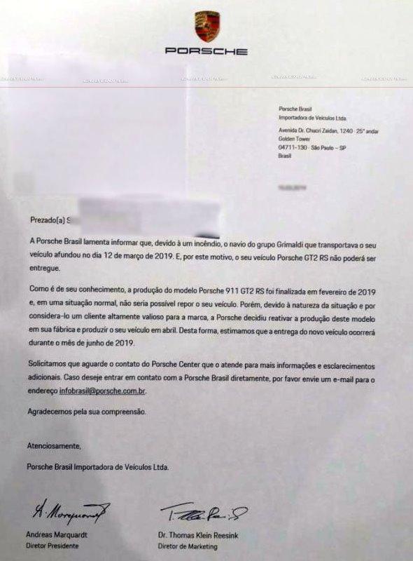 Письмо с извинениями от Porsche