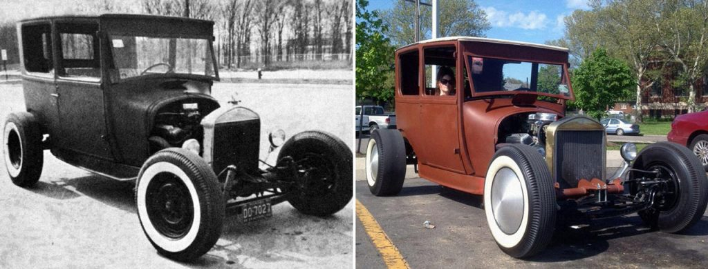 Ford Model-«T» 1927 года слева и его реставрация 2012 года справа
