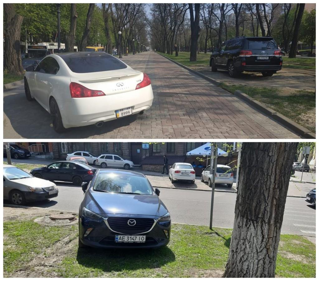 Парковка на газоне и пешеходной аллее