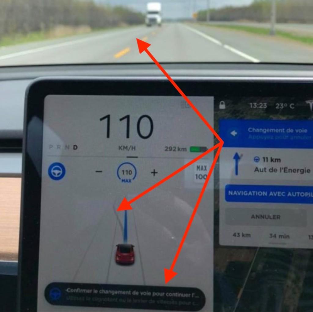 Автопилот Tesla Model 3 предложил перестроиться в фуру