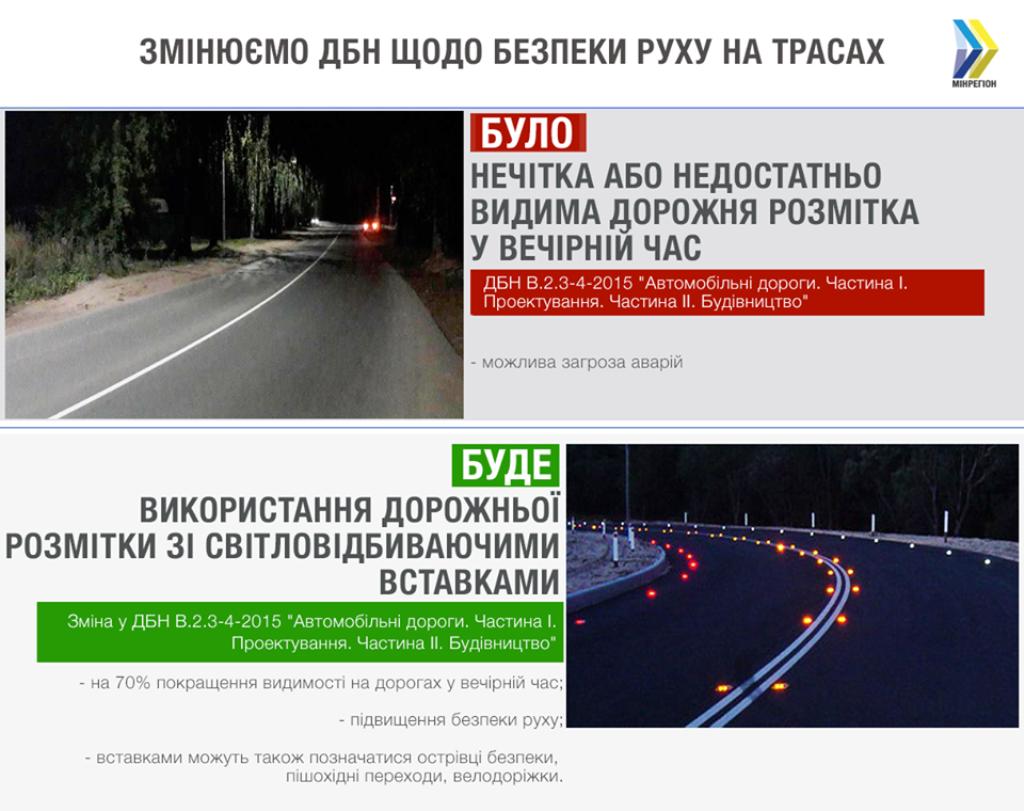 Минрегион предложил использовать светооражающие вставки на дорожной разметке