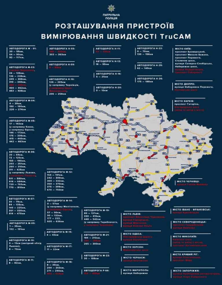 Карта размещения радаров TruCam на дорогах Украины