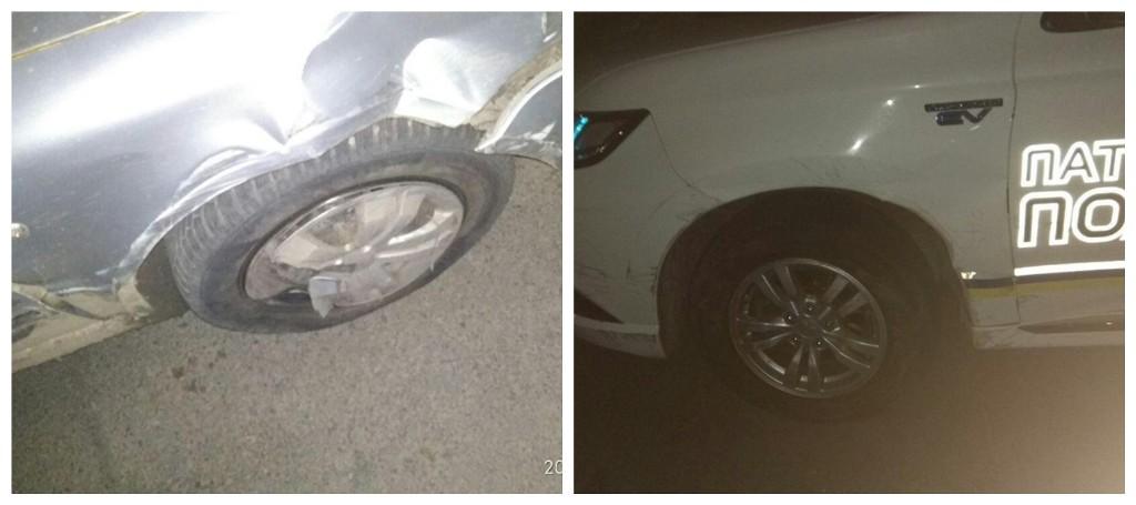 Нарушитель столкнулся с патрульным автомобилем