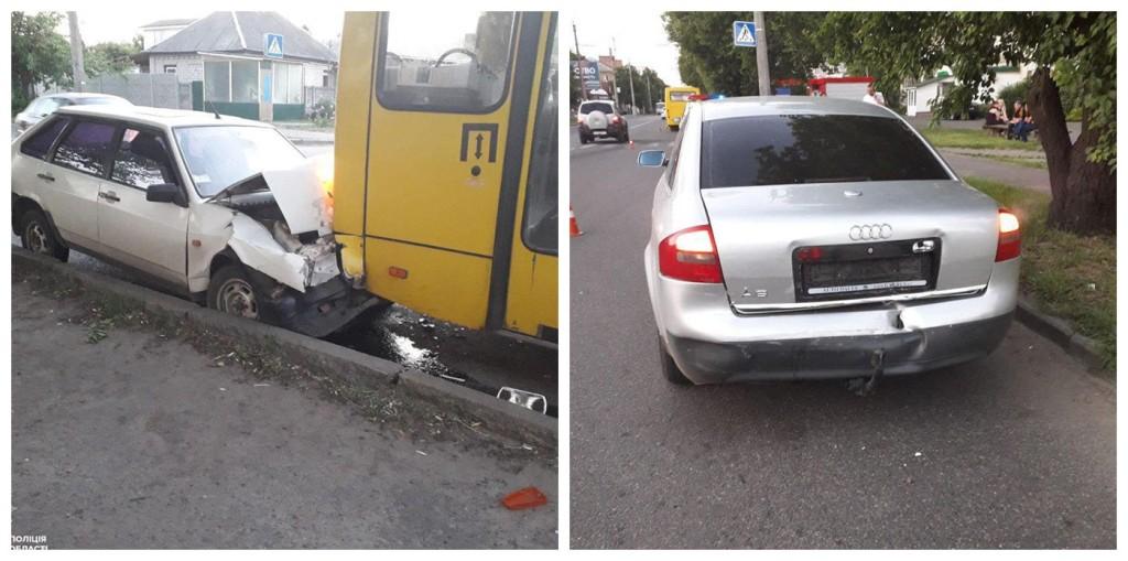 Водитель столкнулся с двумя транспортными средствами