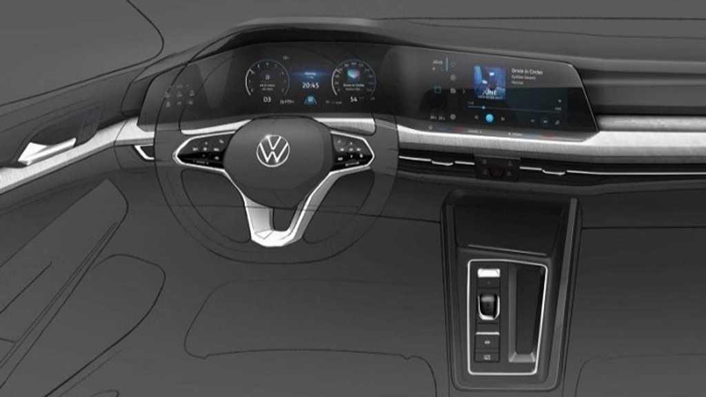 Официальный скетч интерьера Volkswagen Golf 8