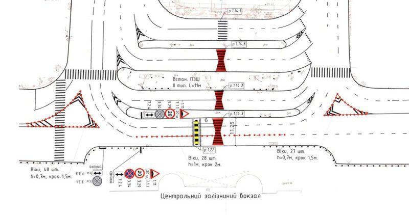Карта размещения делиниаторов возле Центрального железнодорожного вокзала в Киеве