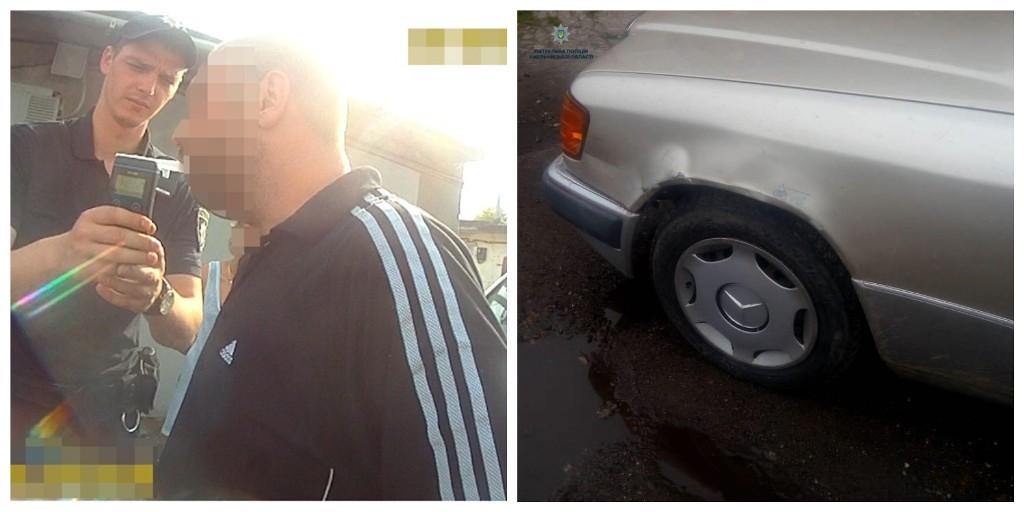 Пьяный водитель Mercedes столкнулся с ВАЗом
