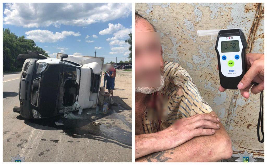Пьяный водитель допустил опрокидывание авто