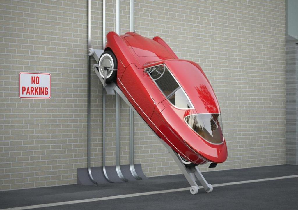 Уникальной особенность электрокара станет возможность парковки в горизонтальном положении на стене