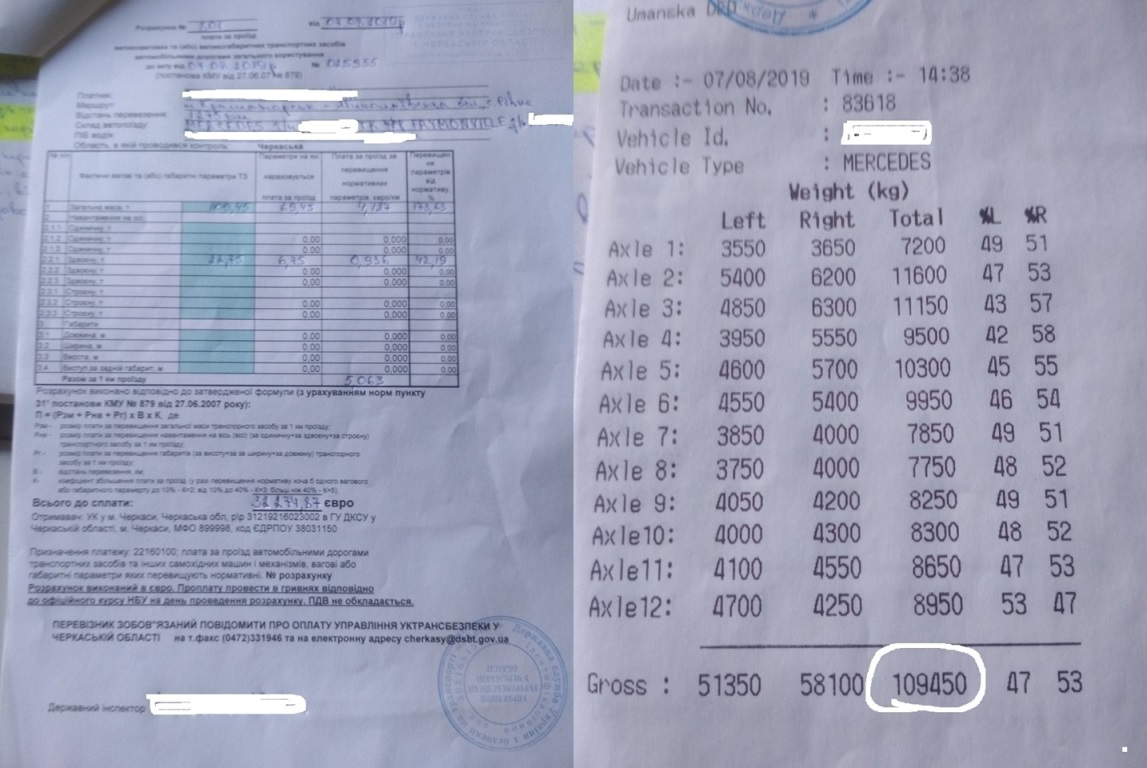 """В отношении перевозчика был составлен Акт по статье 48 Закона Украины """"Об автомобильном транспорте"""""""