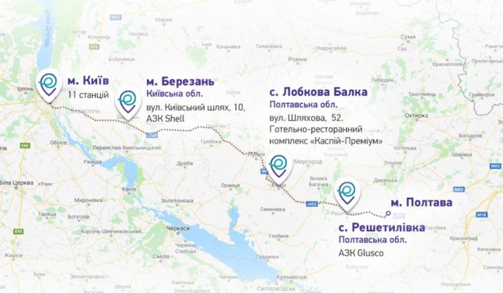 Карта расположения зарядных станций