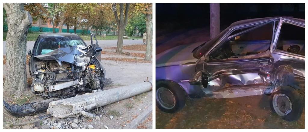 Пьяный водитель повредил припаркованное авто и влетел в электроопору