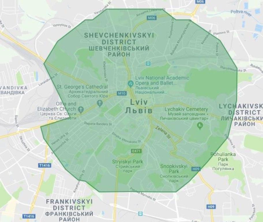 Карта покрытия Uber Eats
