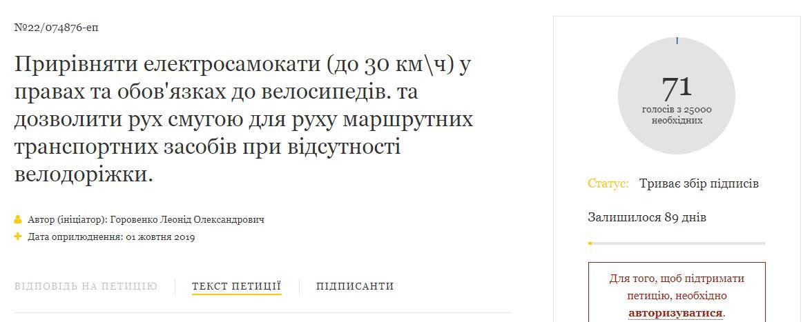 На сайте Президента Украины появилась петиция, в которой просят приравнять электросамокаты с скоростью движения до 30 км/ч к велосипедам