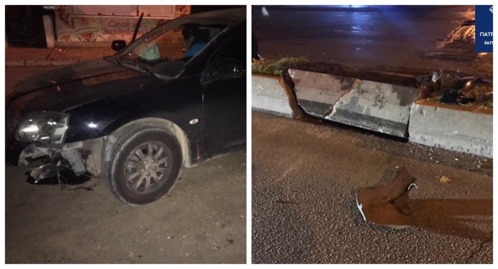 Пьяный водитель влетел в бетонный разделитель