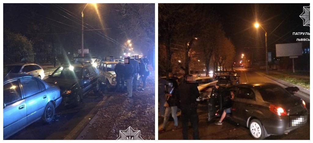 Во Львове столкнулись четыре машины
