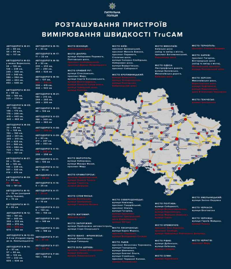 На украинских дорогах увеличилось количество радаров TruCam